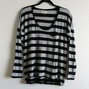 Maxwell Striped Blouse size Small Black Gray